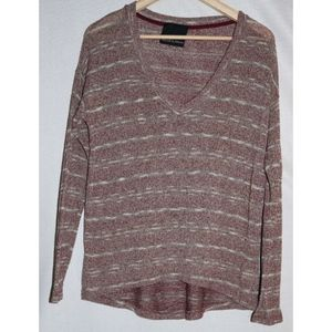 Harlowe & Graham Small Burgundy Beige Thin Sweater